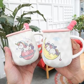 日式水杯 馬克杯 日式創意簡約可愛獨角獸陶瓷杯帶蓋帶勺少女心馬克杯卡通潮流水杯 玻璃水杯 陶瓷杯 保溫杯 加厚