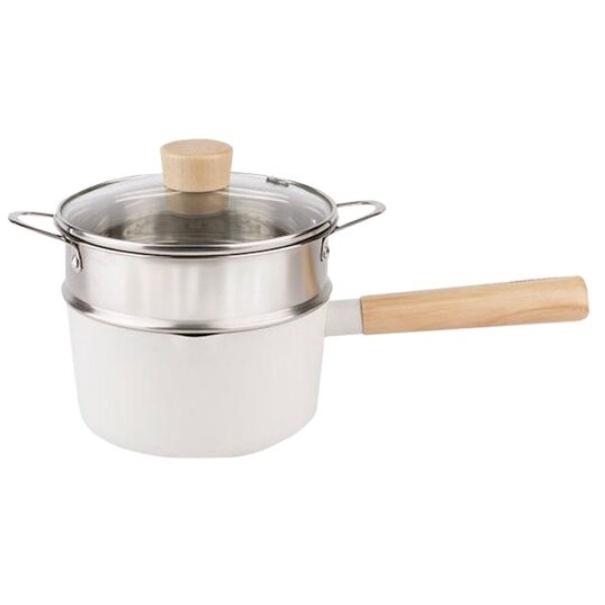NEOFLAM FIKA 系列鑄造單柄湯鍋16CM+不銹鋼蒸籠 單柄湯鍋 雪平鍋 泡麵鍋 牛奶鍋 蒸煮萬用鍋