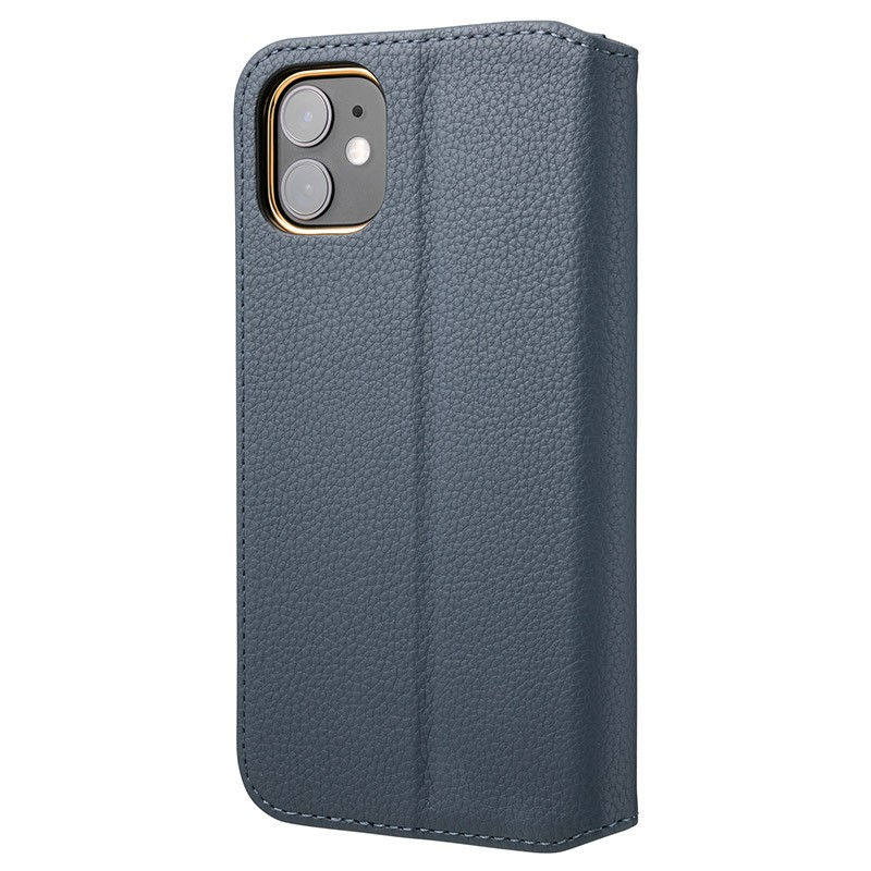 GRAMAS Shrink iPhone 11 時尚工藝 掀蓋式皮套(藍)