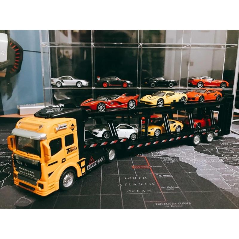 【現貨盒裝實拍】快速出貨 1/64聯結運輸模型車 拖車 展示架 1:64可放7-11 三大極速 藍寶基尼 法拉利 京商