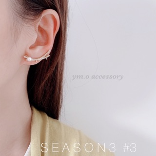 [ym.o accessory] 交叉鑽石珍珠耳夾耳骨夾 優雅風格耳夾耳針耳環