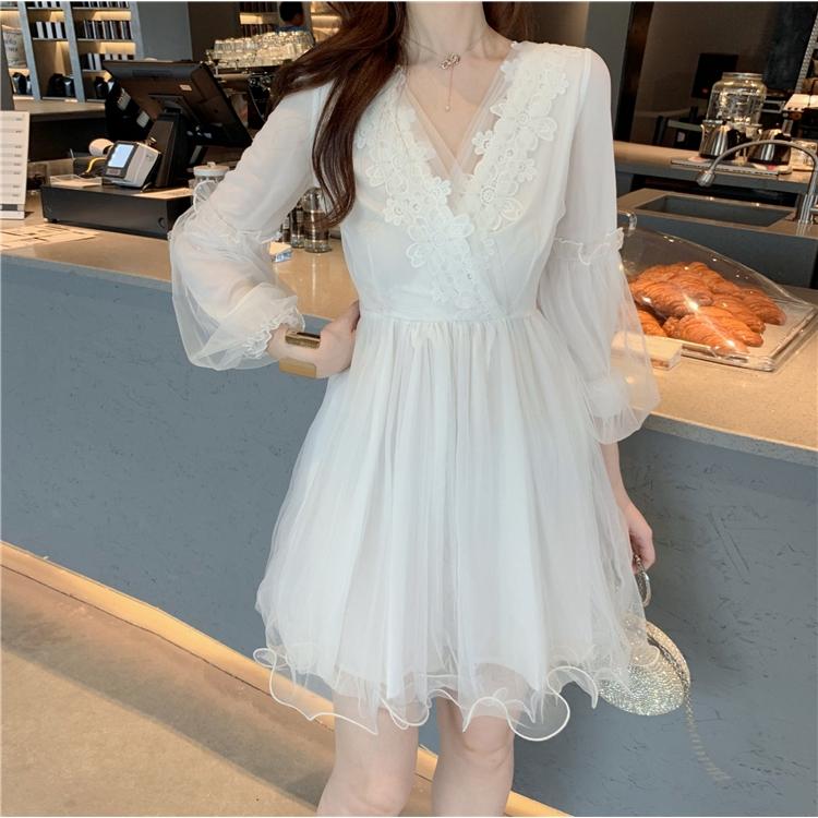 仙美網紗洋裝a字裙連衣裙女生尺碼洋裝短洋