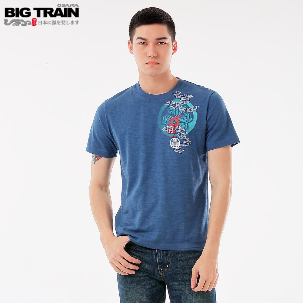 BIG TRAIN 天狗護衛圓領短袖-藍