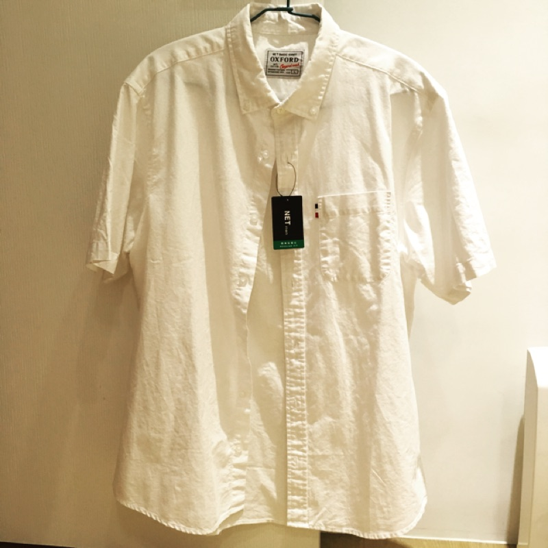 《全新》NET男生短袖襯衫 白色