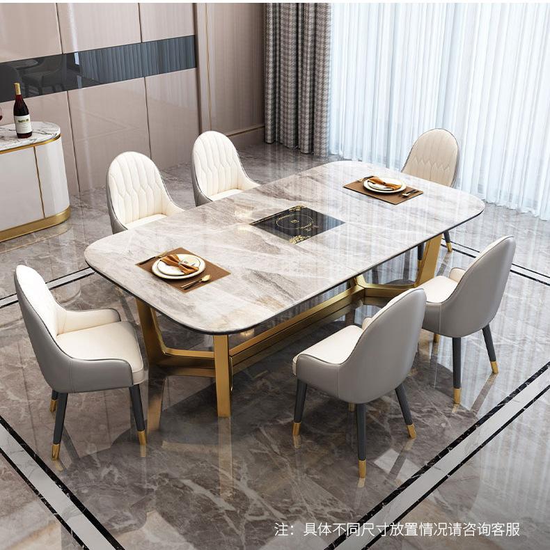 輕奢岩板餐桌伸縮電磁爐餐桌家用長方形小戶型拉伸餐桌火鍋聚餐桌