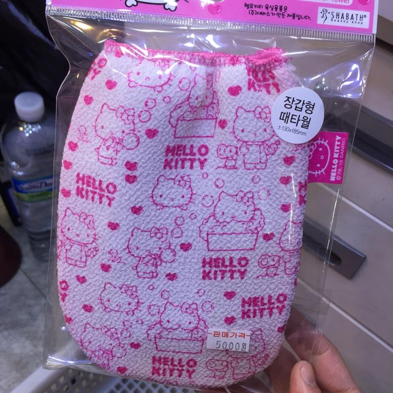 現貨 韓國製hello kitty 洗澡用去角質片 /去角質毛巾