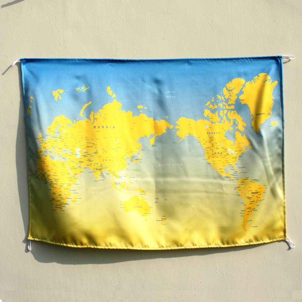 台灣旅人世界地圖 日出天空 黃藍漸層色 掛畫 壁幔 worldmap travel TAIWAN