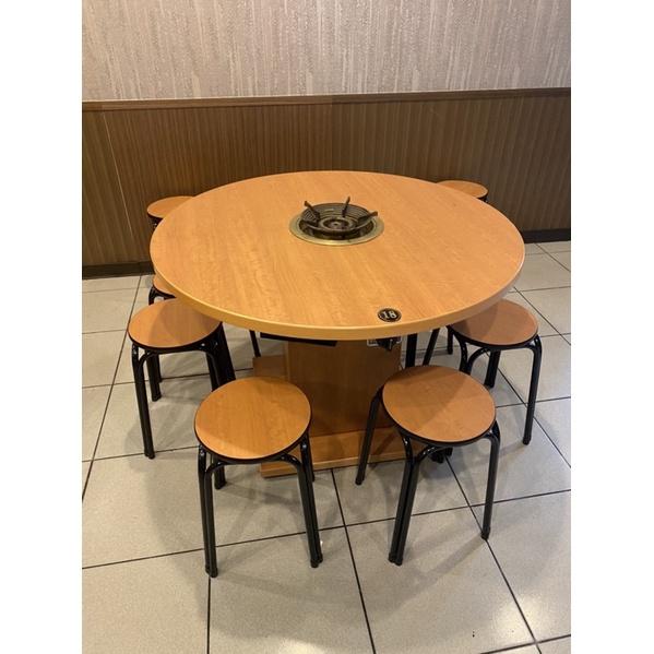 二手瓦斯火鍋餐桌椅 (圓桌+6張椅子)限自取 可議價