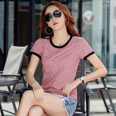 短衫T恤打底衫t恤修身顯瘦條紋短袖t恤女上衣潮H350-C 衣时尚