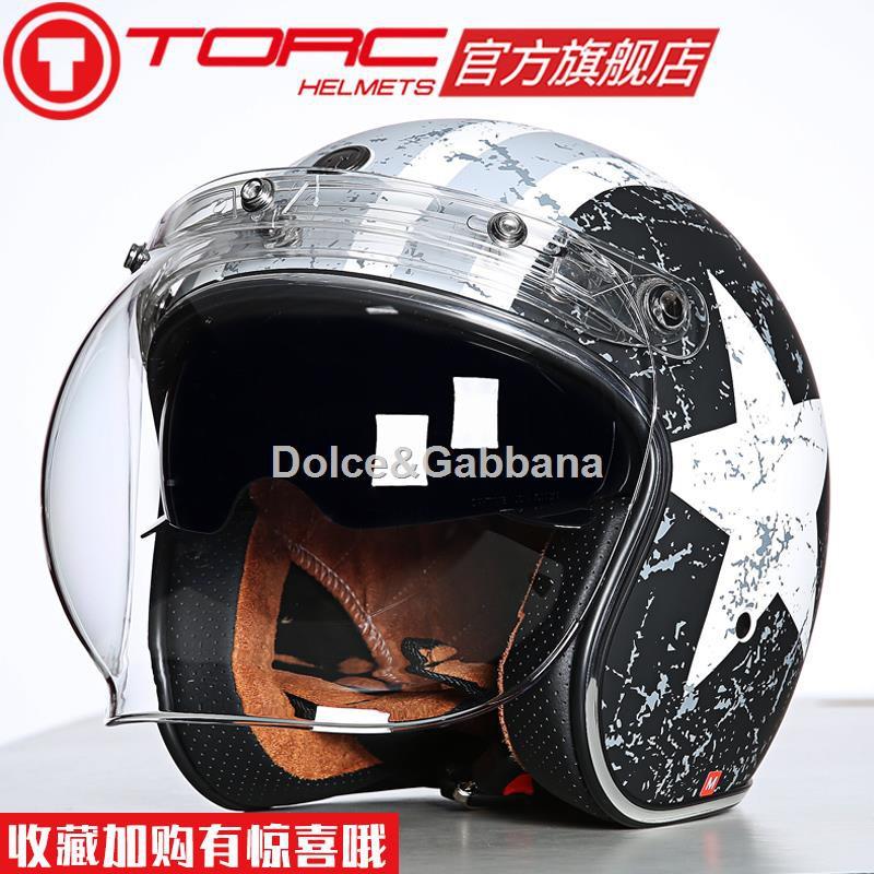 ☊✗TORC摩托車復古半盔覆式夏季男女太子機車頭盔電動安全帽輕便四季