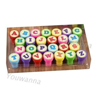 26個字母圓形印章 全套 字母印章 卡片裝飾 兒童禮物 玩具 自印剪貼簿 板印泥壓模