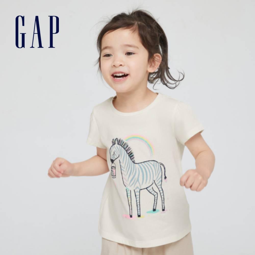 Gap 女幼童 布萊納系列 童趣印花泡泡袖T恤 677877-象牙白