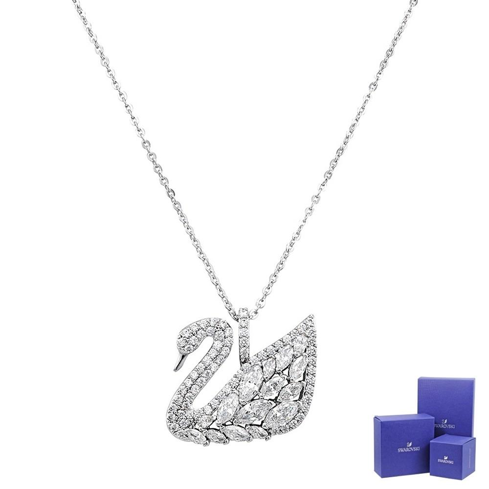 SWAROVSKI 施華洛世奇 Swan Lake璀璨天鵝湖造型銀色項鍊 5169080
