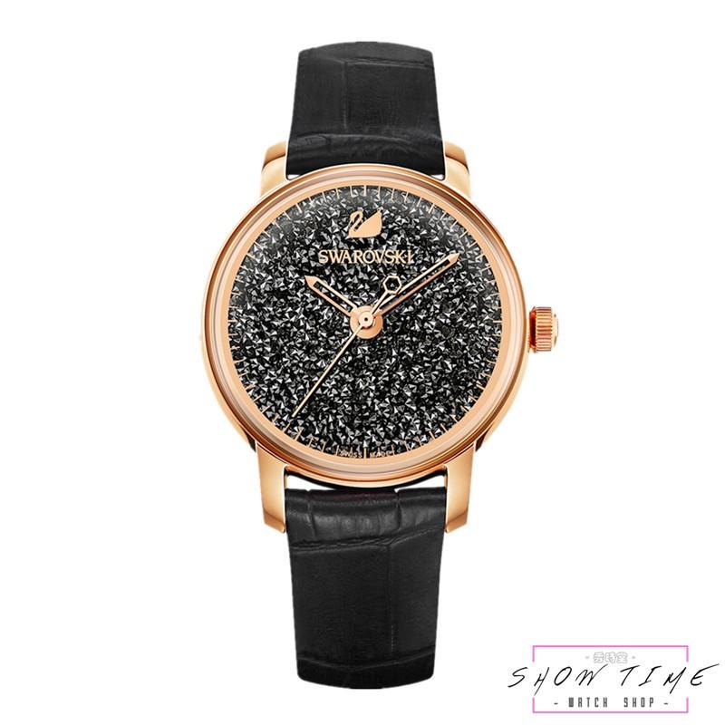 SWAROVSKI 施華洛世奇 璀璨光彩優雅腕錶-黑皮帶/黑面玫瑰金 5295377 [ 秀時堂 ]