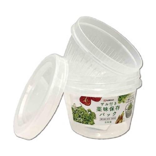 【日本Nakaya】雙層保鮮盒圓形500ml《WUZ屋子》延長保鮮 備料盒 蔥薑蒜 日本製 瀝水