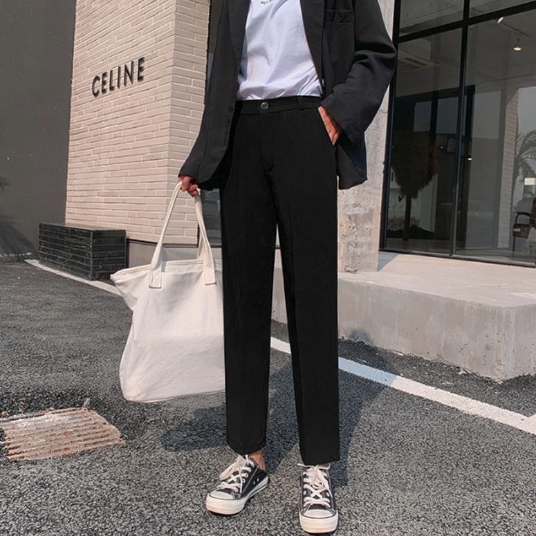 [現貨] 西裝褲女 氣質百搭純色褲子 寬鬆闊腿直筒褲 九分褲 休閒長褲 學生高腰顯瘦褲子