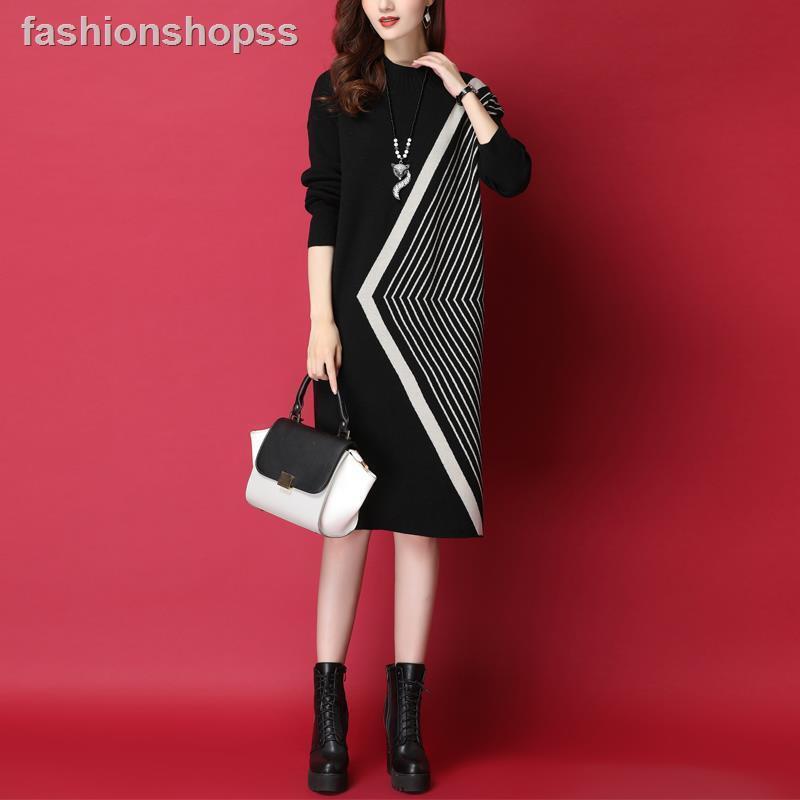 針織洋裝 秋冬季 中長款 過膝 寬松 直筒 毛衣裙