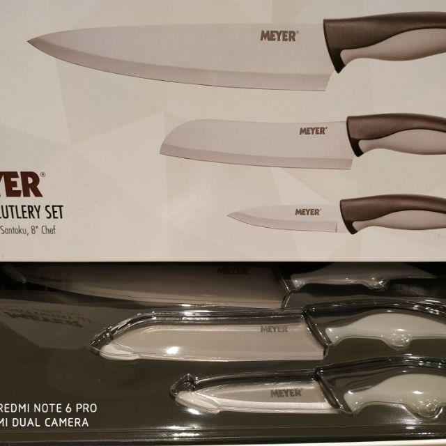 安麗 Amway MEYER 美國美亞刀具三件組 廚師刀 萬用刀 菜刀