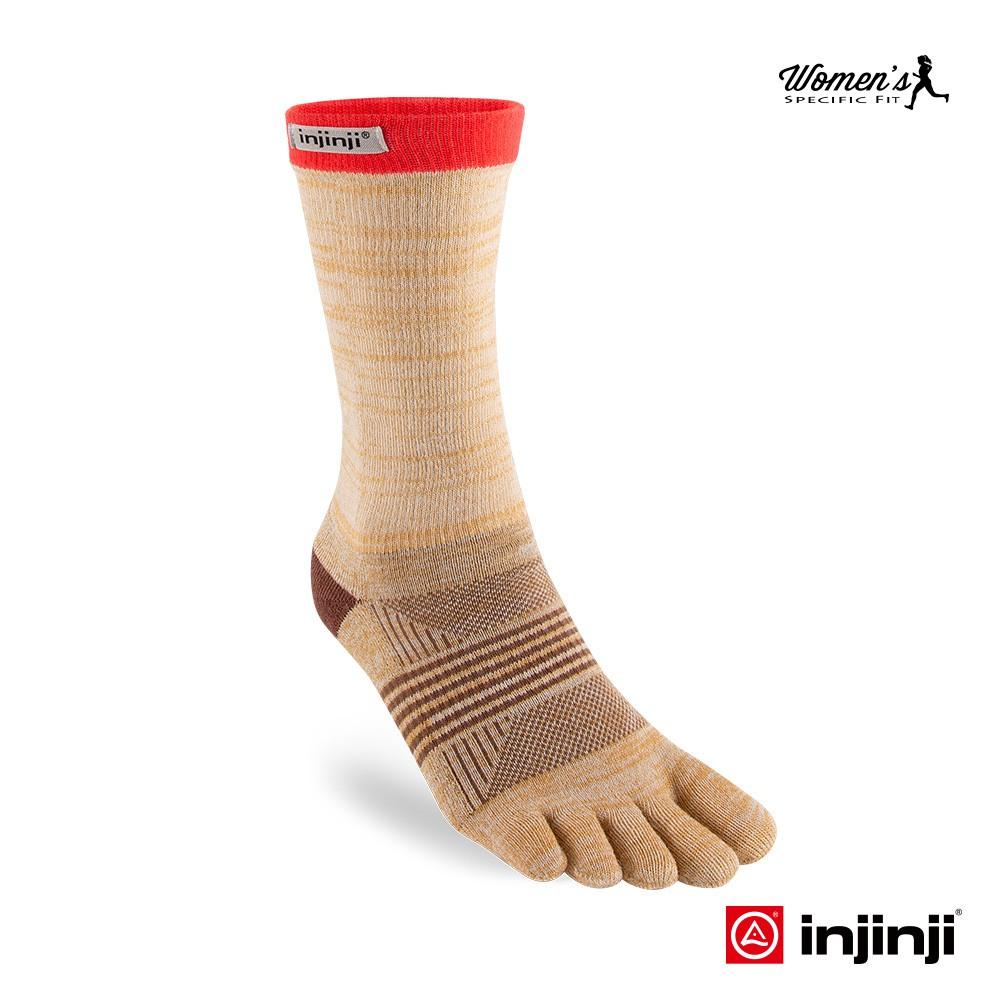 【INJINJI】TRAIL野跑避震吸排五趾中筒襪 [褐色] 避震款 五趾襪 中筒襪 女襪  INJB0NAA3942