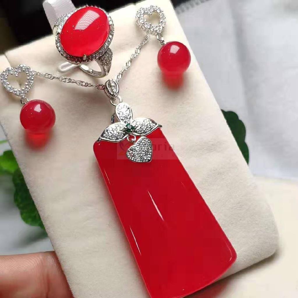 天然原礦冰種紅玉髓四件套項鏈戒指耳環送證書