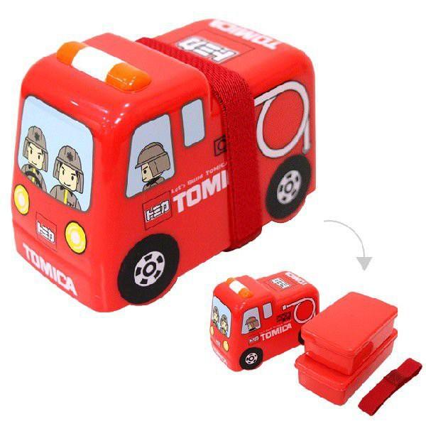 「Wendystore」日本進口 小汽車 TOMICA 消防車 雙層塑膠造型便當盒