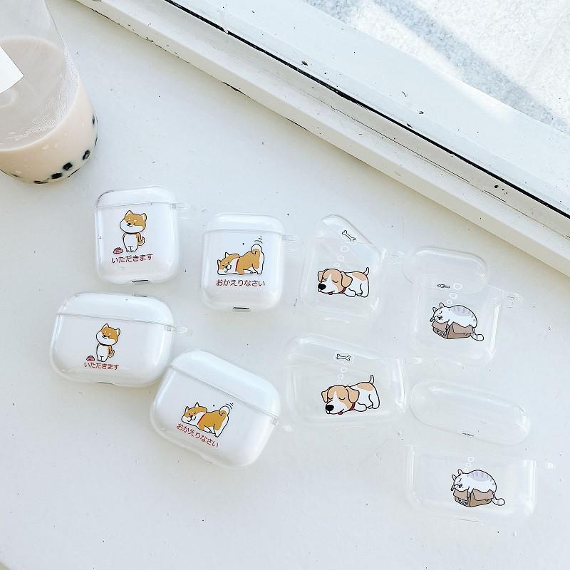 柴犬 貓咪 Airpods Pro耳機卡通殼 Airpods1/2代無線藍牙保護殼 蘋果耳機軟殼 情侶款 TPU 分開式