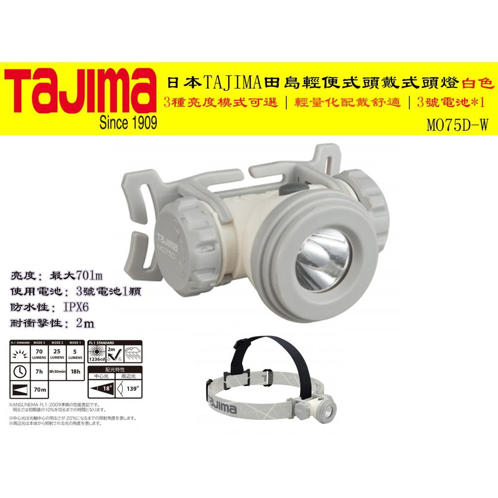 【台南丸豐工具】【3種亮度模式可選】【日本TAJIMA田島輕便式頭戴式頭燈白色】
