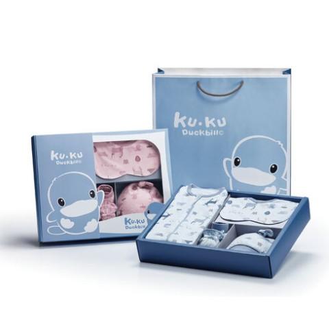KUKU酷咕鴨北歐迷境森林包巾禮盒-7件組(粉/藍)