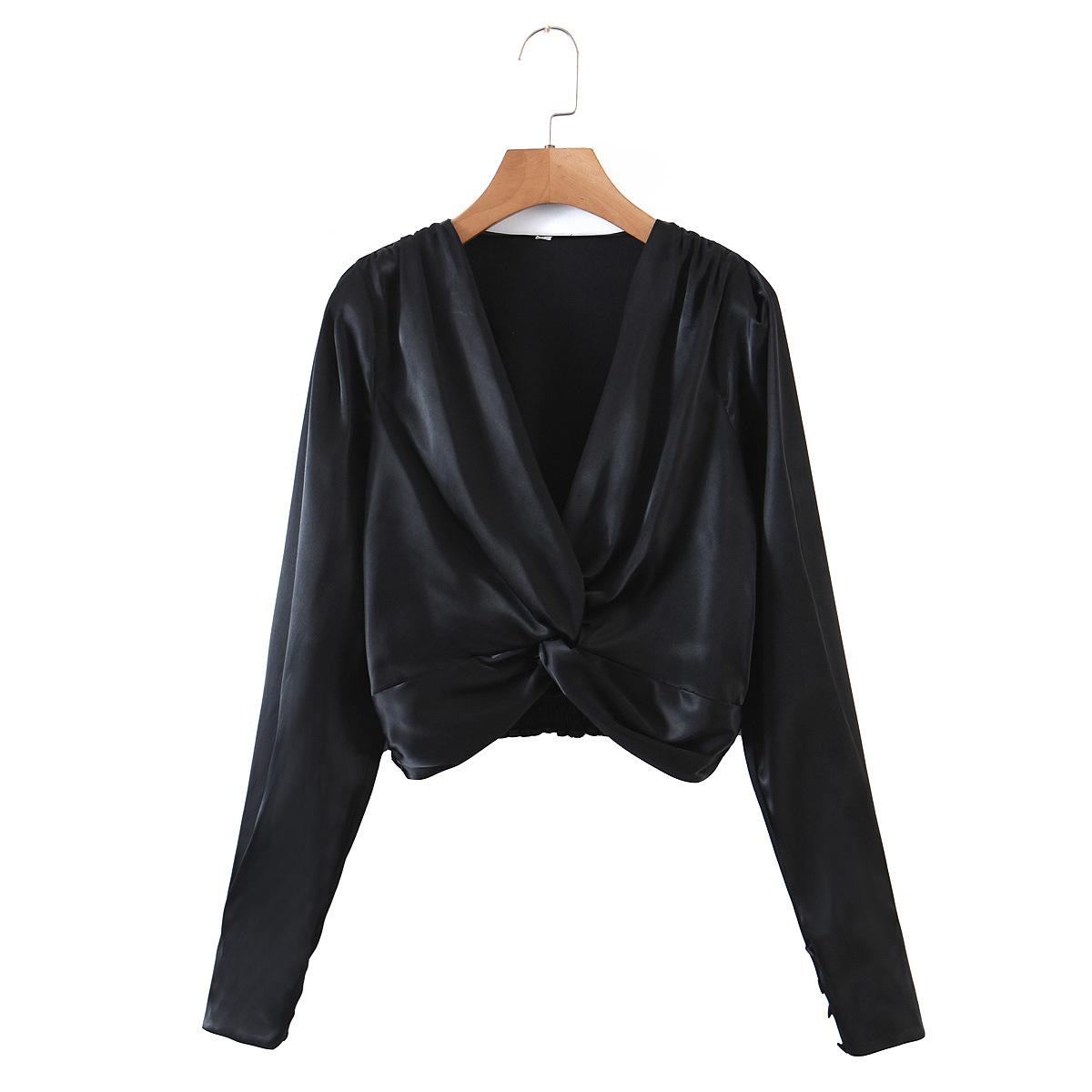 2021秋冬歐美時尚胸前打結長袖襯衫女黑色套頭V領寬鬆襯衫 7tXM