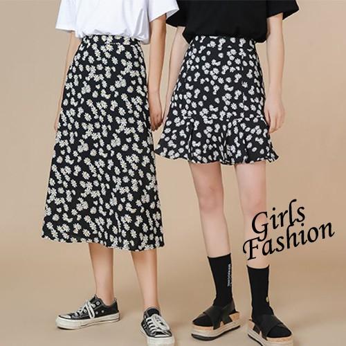 GF 短裙 韓系 顯瘦高腰 小雛菊短裙 小雛菊長裙 雪紡裙子 女裝