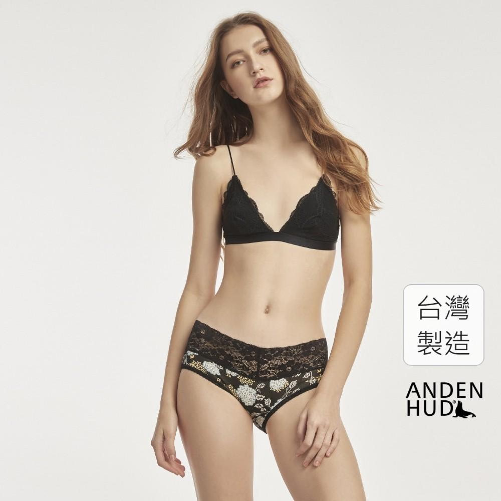 【Anden Hud】XXL 楓舞蝶.V蕾絲中腰三角內褲(黑-繡球花) 台灣製