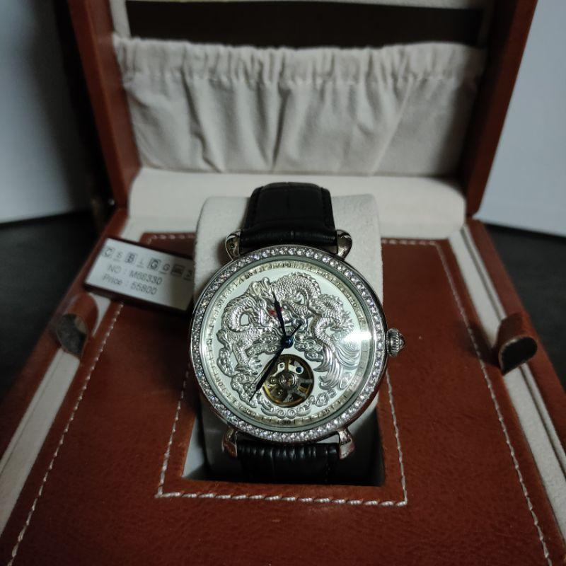 Manlike 曼莉萊克機械錶不銹鋼真皮錶帶機械表晶鑽龍行天下經典紅寶手錶八心八箭銀