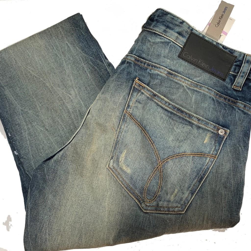 Calvin klien 男生牛仔長褲 單寧牛仔褲 牛仔褲 時尚雅痞潮流 洗舊刷白設計 凱文克萊CK 41F3838