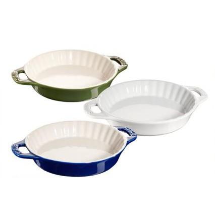 【法國Staub】陶瓷雙把波浪烤盤24cm-1.2L 羅勒綠/深藍色/白色