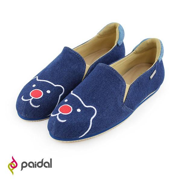 Paidal經典款紅鼻熊休閒鞋樂福鞋懶人鞋-牛仔藍