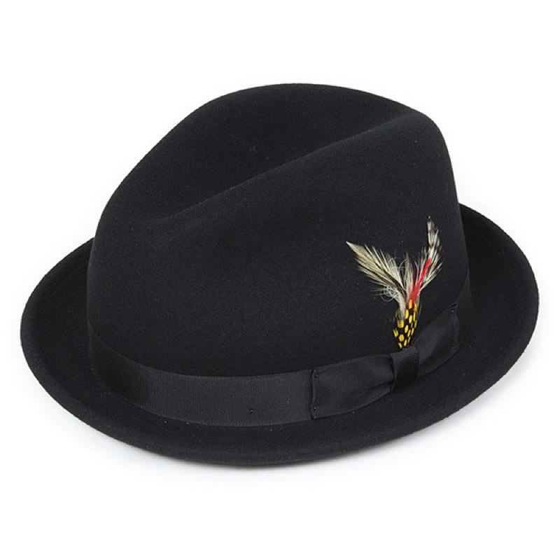 美國 NEW YORK HAT - STINGY FEDORA 三凹短簷 紳士帽 - 黑色
