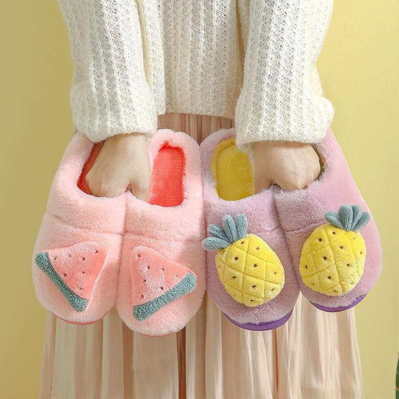 雙12免運-棉拖鞋女冬季可愛家居學生外穿室內家用防滑卡通保暖毛毛絨鞋秋冬
