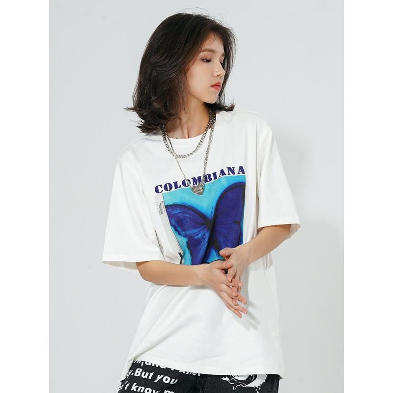 酷咖國潮 CBIANA創造營劉宇、伯遠同款水墨蝴蝶印花 短袖 T恤  國潮 半截袖男女