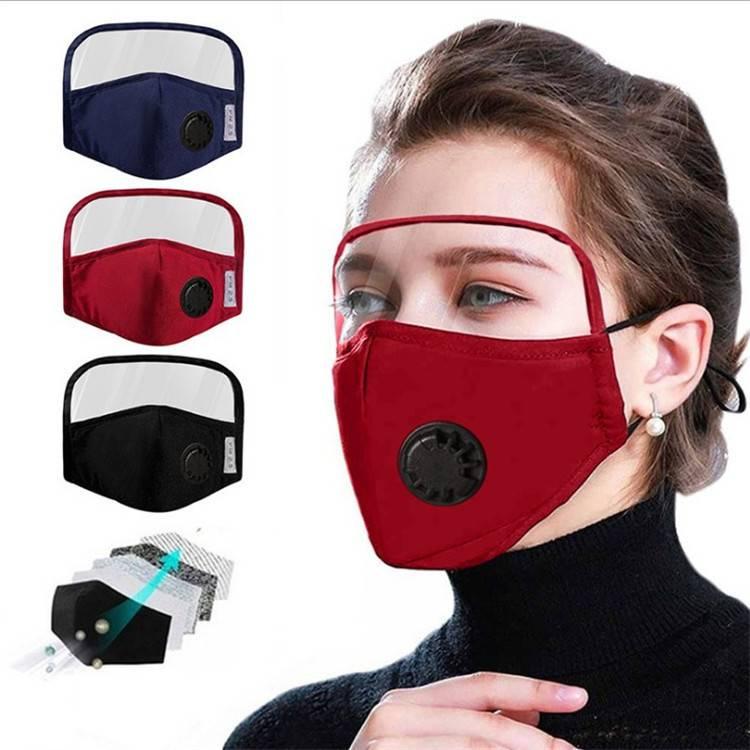 口罩帶面罩一體護目鏡護眼防塵一體式純棉防起霧呼吸閥門口罩