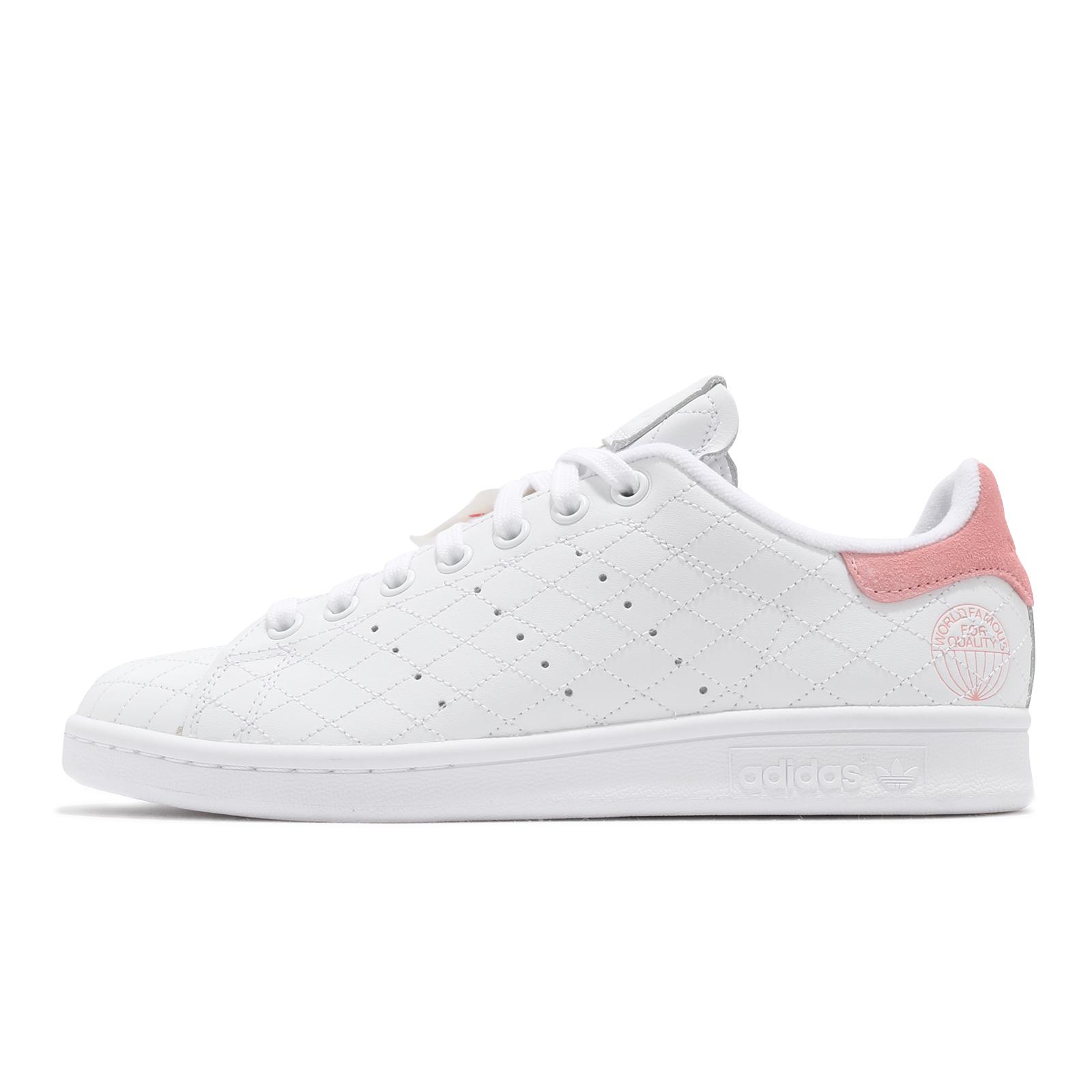 adidas 休閒鞋 Stan Smith W 白 粉紅 小白鞋 女鞋 網格縫線鞋面 三葉草 【ACS】 FV4070