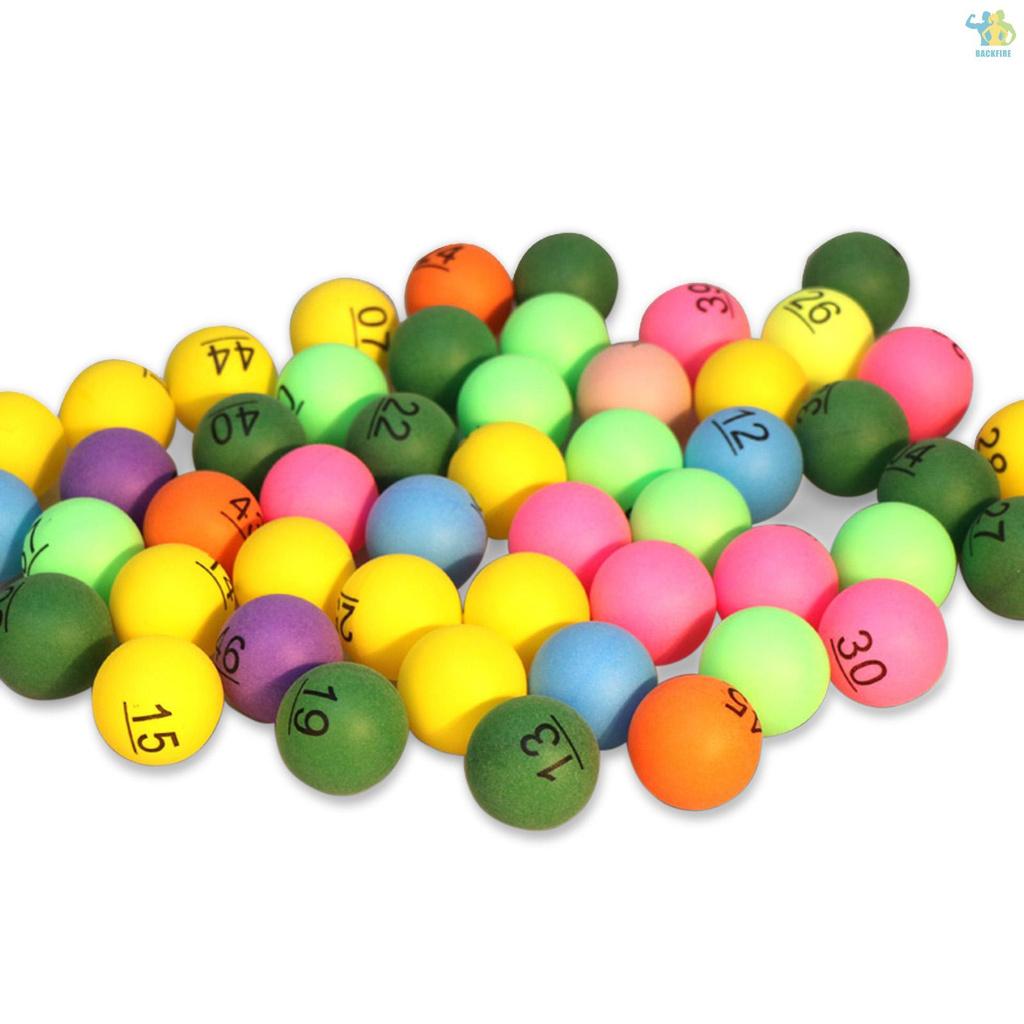 50pcs 數字印刷乒乓球 40mm 彩色拉夫格球娛樂乒乓球混合顏色遊戲