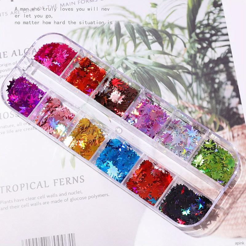 12 色楓葉指甲藝術亮片調色板閃光片落葉貼紙 Diy 指甲裝飾