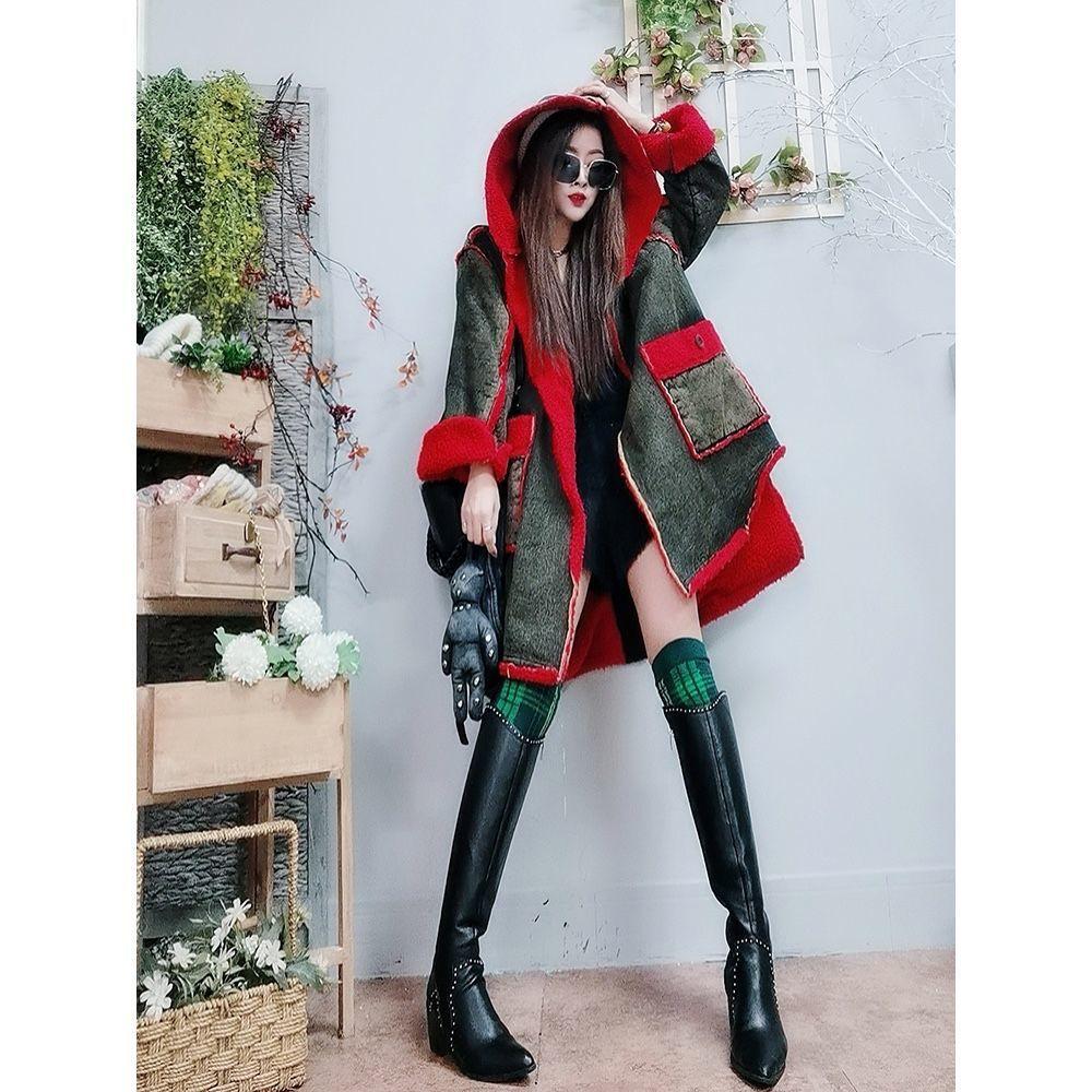 时尚风衣☺☺中長款連帽外套女2020冬季新款寬松洋氣減齡顆粒絨大衣加厚