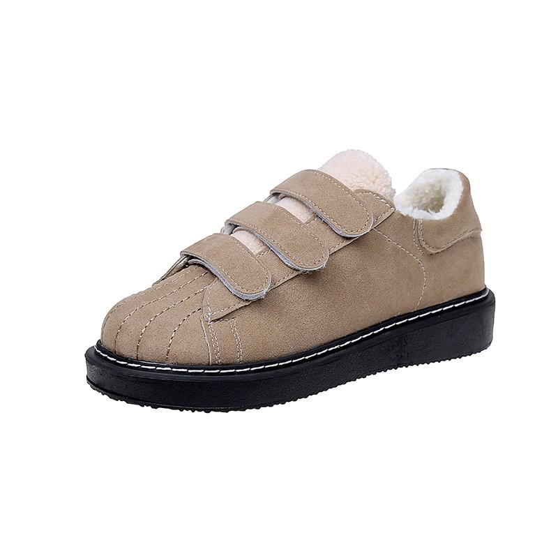 新款-秋冬女鞋子2020新款韓版百搭學生魔術貼加絨保暖棉鞋厚底毛毛鞋潮