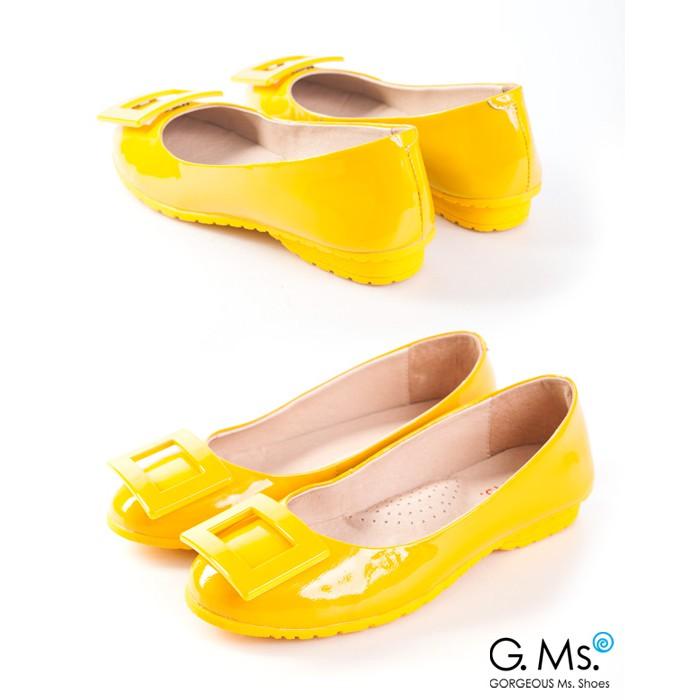 G.Ms. 優雅經典‧烤漆方釦牛漆皮微坡跟平底鞋-黃色