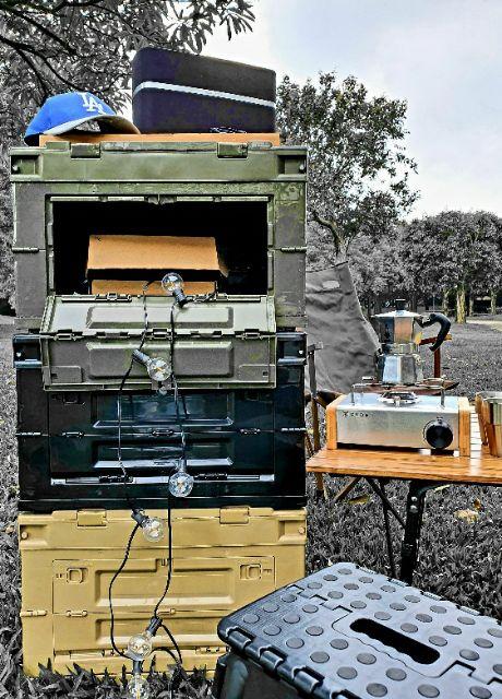 ●Camping Flying●日本軍用風折疊側開收納箱 黑色 居家 露營 收納 摺疊 側開 收納 50L⚠️現貨⚠️