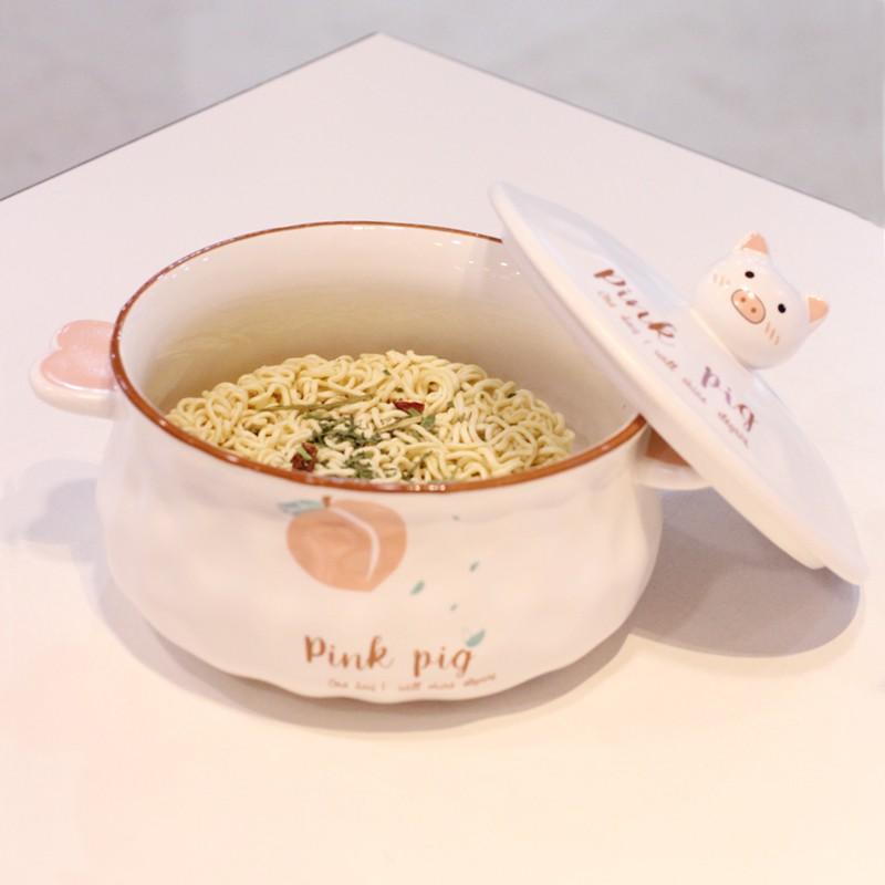 (hua)泡面碗帶蓋陶瓷傢用日式大號學生飯盒泡方便面碗宿舍有蓋可愛卡通