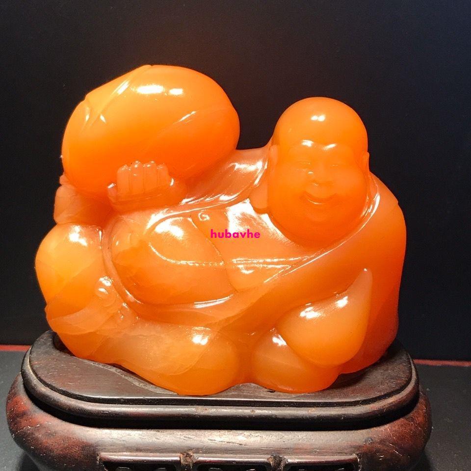 壽山石雕金田黃 精品 黃金黃結晶通透溫潤飽滿彌勒笑佛