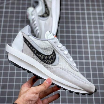 高品質 NIke x Sacai x Dior聯名  男女華夫迪奧雙勾休閒慢跑鞋 透明呼吸網紗 休閒鞋