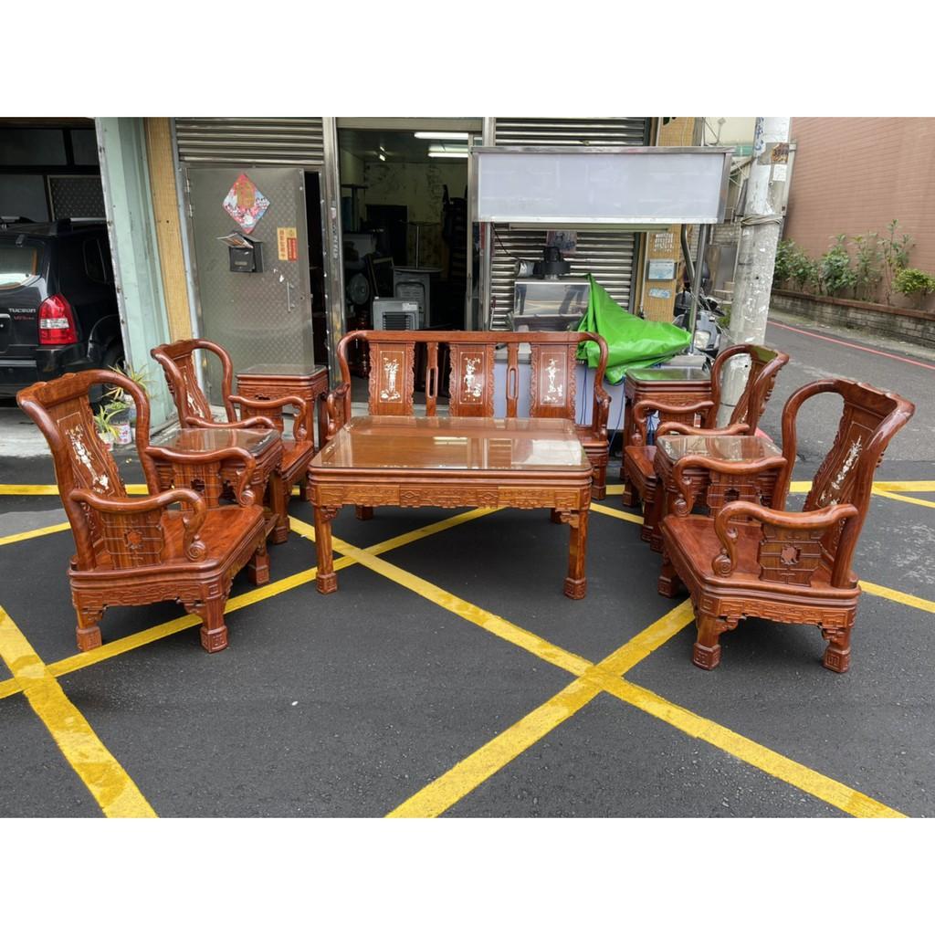 城市二手家具*花梨木鑲貝小戰國十件組(一人座*4、三人座*1、小茶几*4、大茶几*1)*台中二手家具-2手貨-實木家具